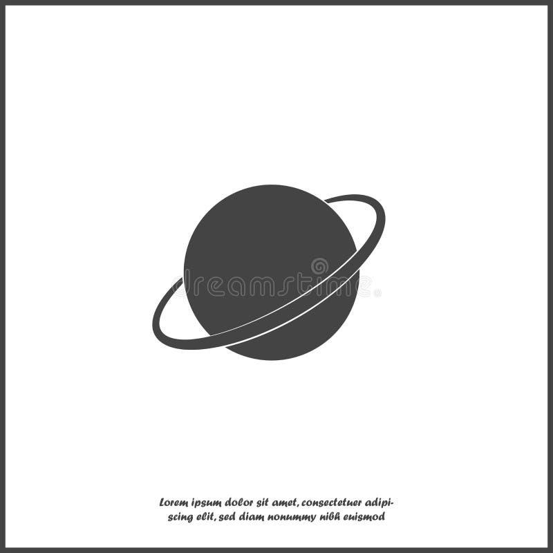 Wektorowy wizerunek przestrzeń Planetuje Saturn białą ikonę na białym odosobnionym tle ilustracji