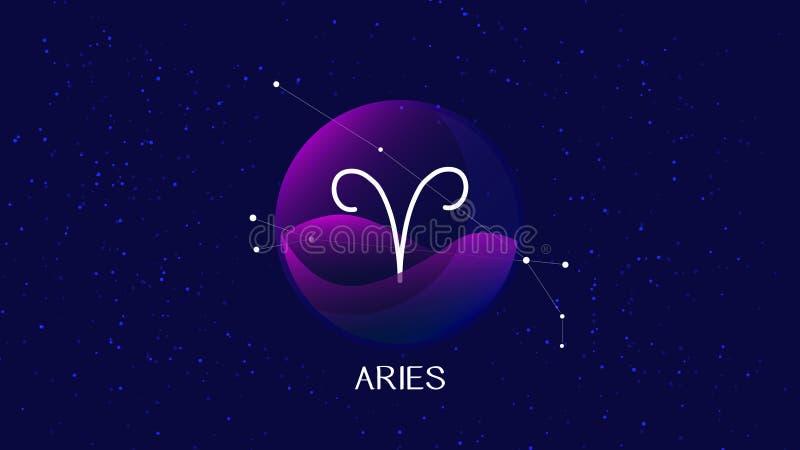 Wektorowy wizerunek reprezentuje noc, gwiaździstego niebo z aries zodiaka gwiazdozbiorem za szklaną sferą z obudowywającym aries  royalty ilustracja