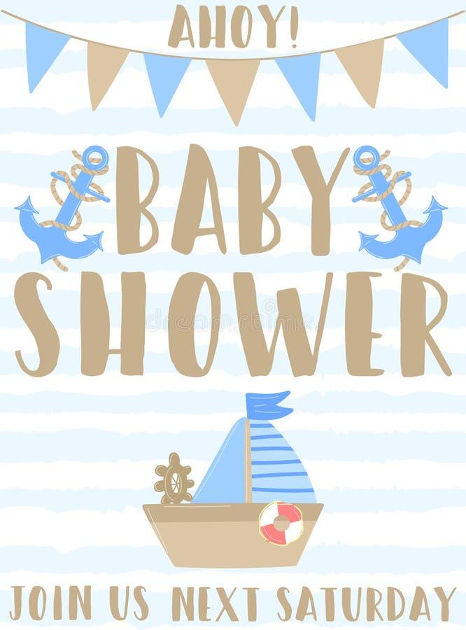 Wektorowy wizerunek statek, kotwica i flagi z wpisową dziecko prysznic na pasiastym błękitnym tle, i Ahoy Ilustracja na t ilustracji