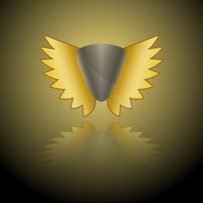Wektorowy wizerunek szary osłona logo z złotymi skrzydłami na złota tle z odbiciem lustrzanym ilustracji