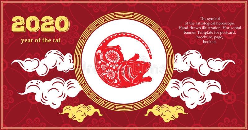 Wektorowy wizerunek szczur Symbol 2020 Szczur i inni zwierzęta wschodni horoskop Horyzontalny sztandar szablon royalty ilustracja