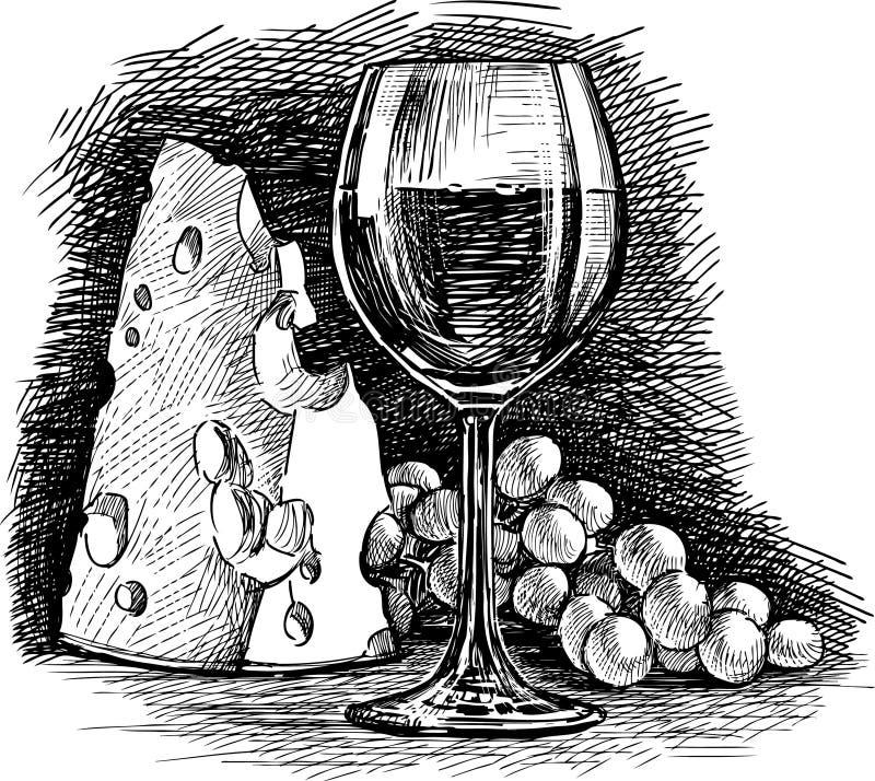 Gronowy wino i ser royalty ilustracja