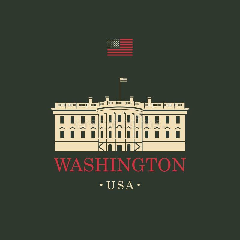 Wektorowy wizerunek USA bielu dom w washington dc ilustracji