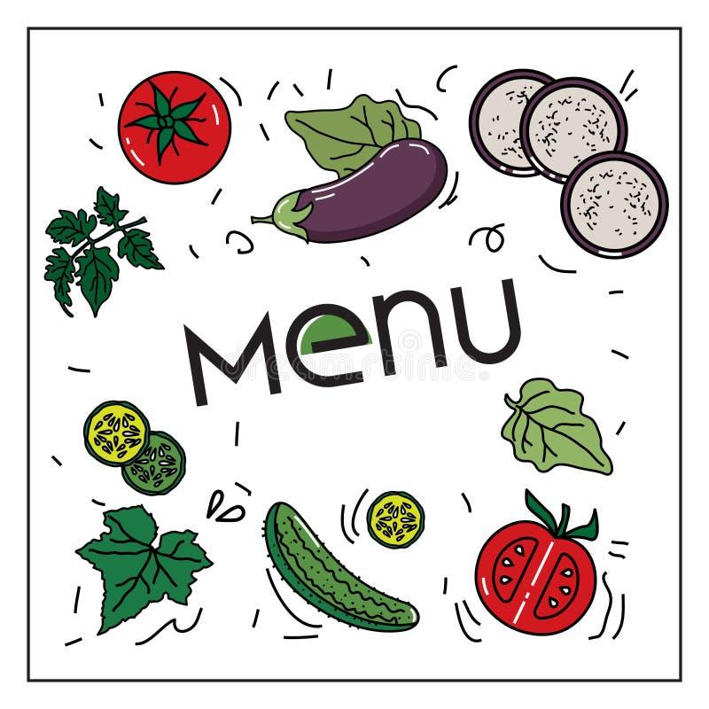 Wektorowy wizerunek warzywa: oberżyny, ogórki, pomidory dla jarosza i inni menu, ilustracja wektor