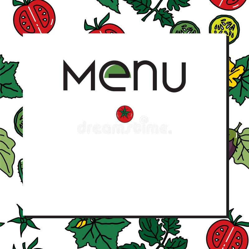 Wektorowy wizerunek warzywa: oberżyny, ogórki, pomidory dla jarosza i inni menu, ilustracji