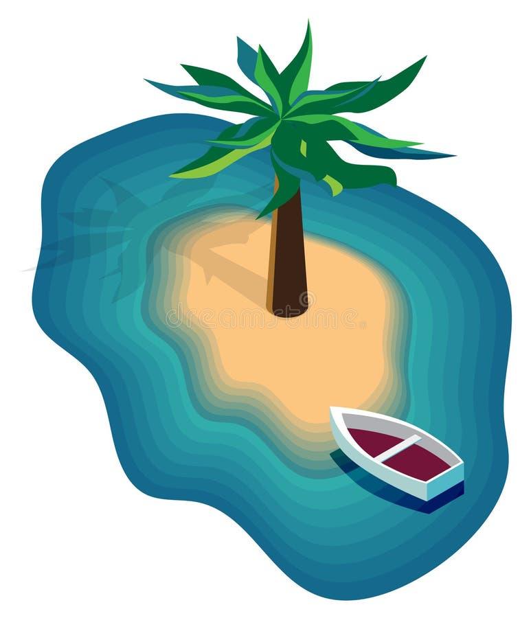 Wektorowy wizerunek wyspa w morzu z łodzią i drzewkami palmowymi, ilustracja wektor