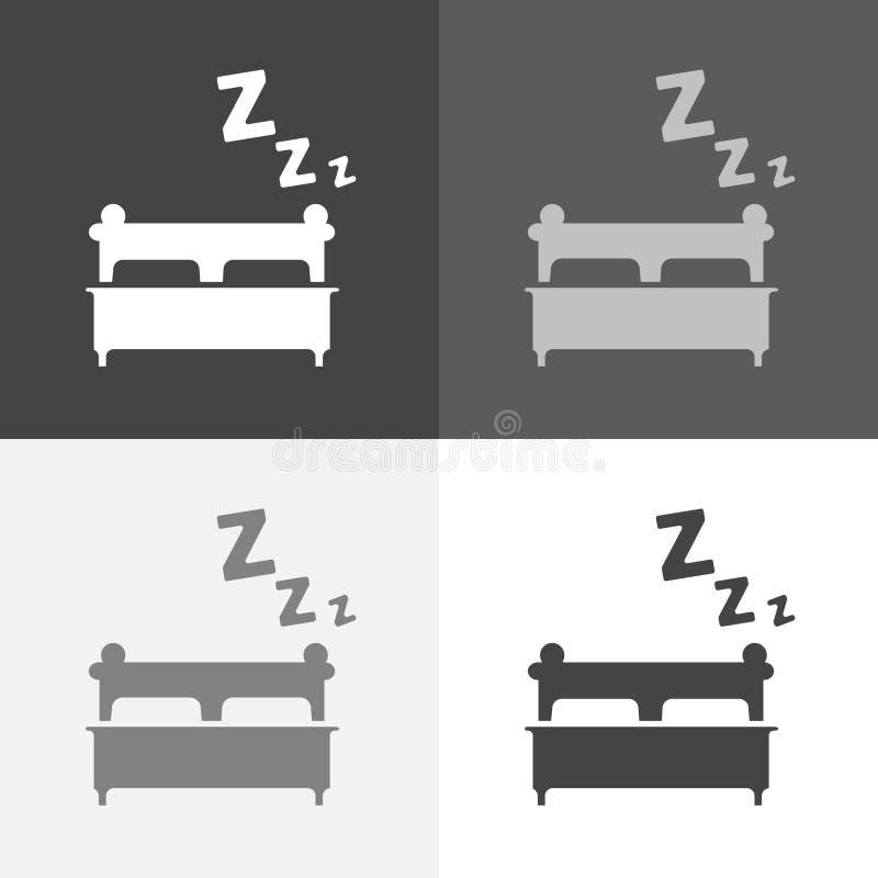 Wektorowy wizerunku sert łóżko, noc sen i odpoczynek Wektorowa łóżkowa ikona, royalty ilustracja