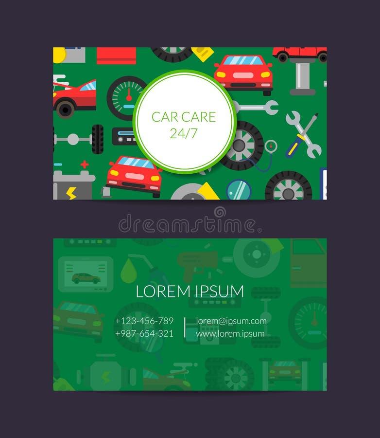 Wektorowy wizytówka szablon dla auto części lub samochód usługa z mieszkanie stylem przechujemy ilustracja wektor