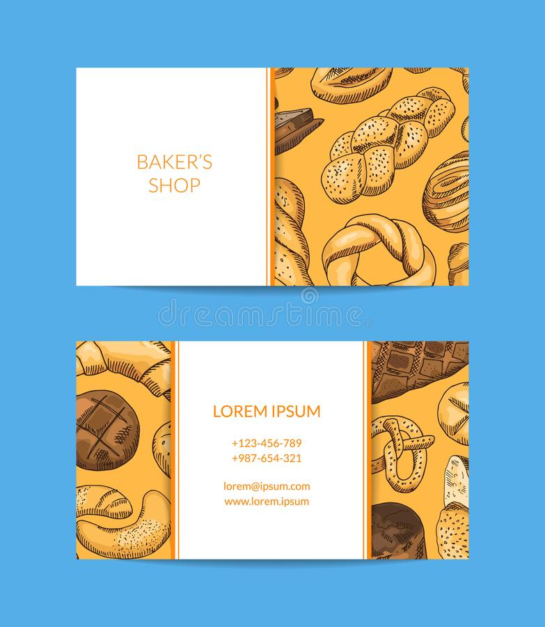 Wektorowy wizytówka szablon dla sklepu, dostawa z ręka rysującą piekarnią ilustracji