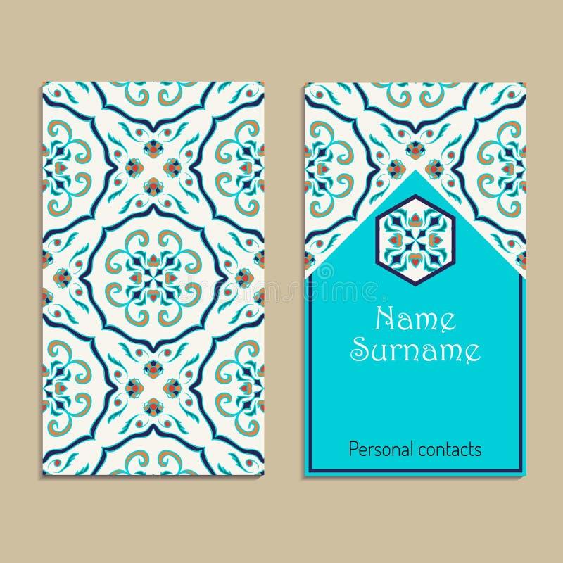 Wektorowy wizytówka szablon Portugalczyk, marokańczyk; Azulejo; Język arabski; azjatykci ornamenty ilustracji
