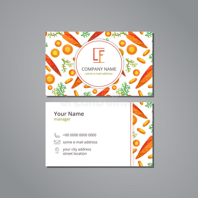 Wektorowy wizyty karty szablon z deseniową marchewką i plasterki w origami projektujemy ilustracja wektor