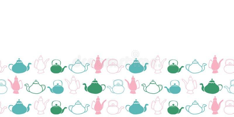 Wektorowy wmarszu ogródu herbacianego przyjęcia czajników i teapots wzoru granicy bezszwowy projekt ilustracji