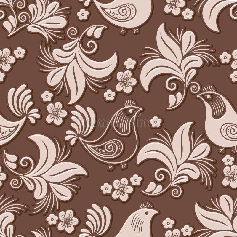Wektorowy wolumetryczny kwiat i ptasi bezszwowy deseniowy element Elegancki luksus embossed teksturę dla tło, bezszwową ilustracji