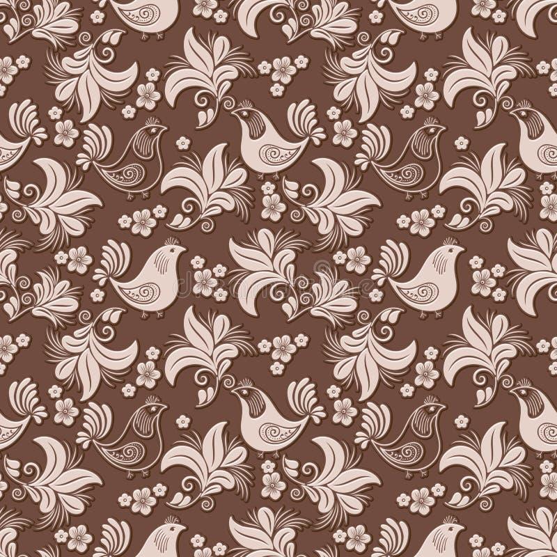 Wektorowy wolumetryczny kwiat, ptasi bezszwowy deseniowy tło Elegancki luksus embossed teksturę dla tło, bezszwową ilustracji