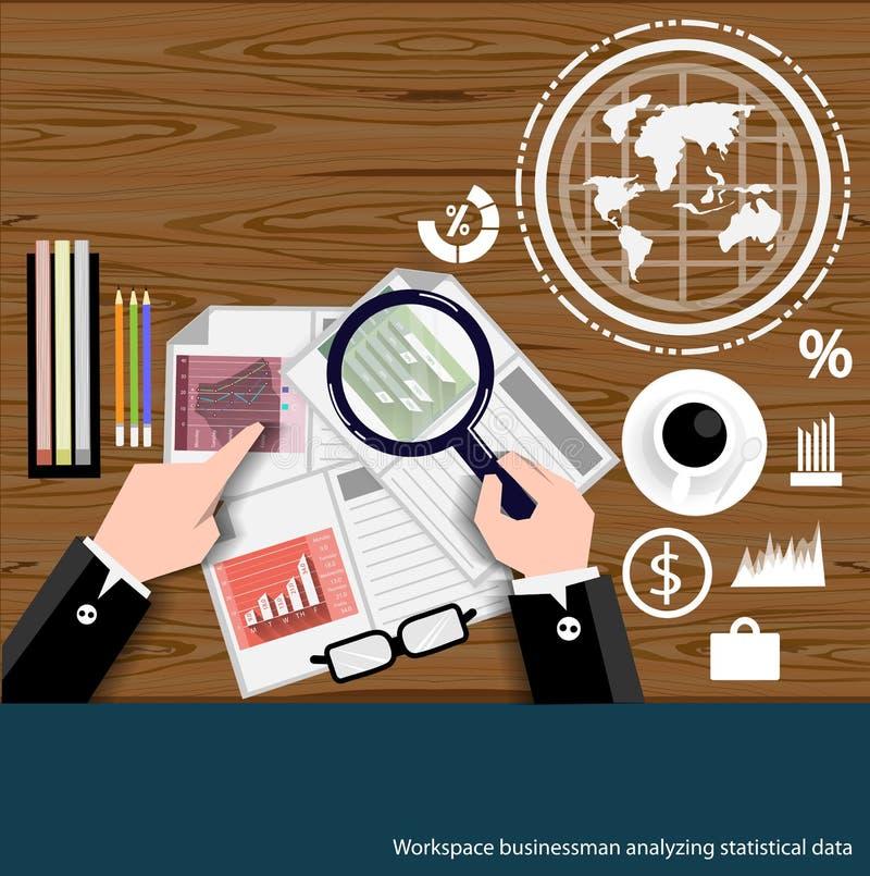 Wektorowy Workspace biznesmen analizuje statystycznych dane płaskiego projekt ilustracji