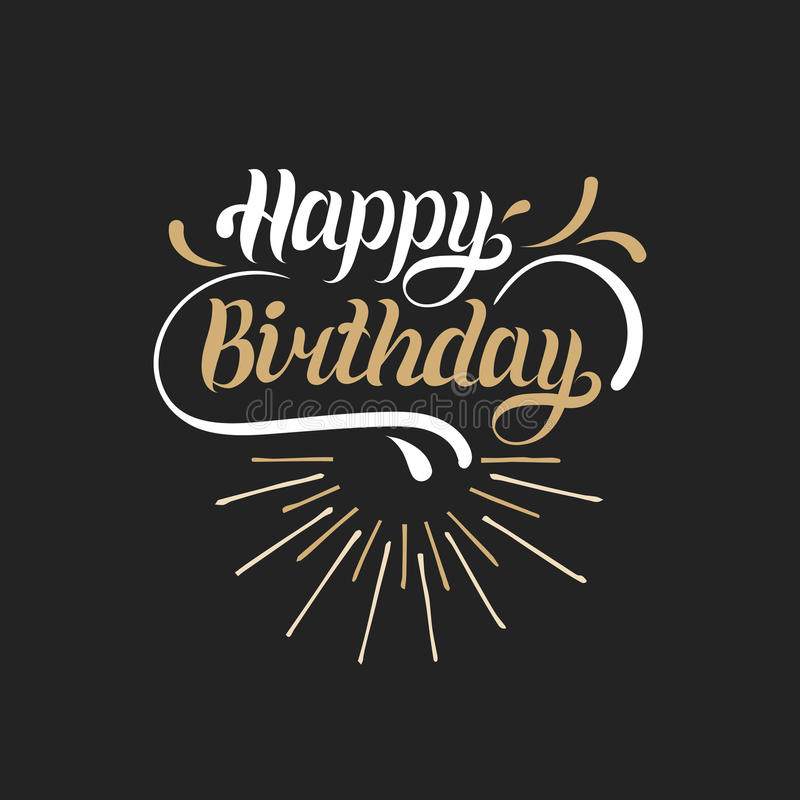Wektorowy wszystkiego najlepszego z okazji urodzin ręki literowanie dla powitania lub zaproszenia karty Natal dnia tło Wakacyjny  ilustracja wektor