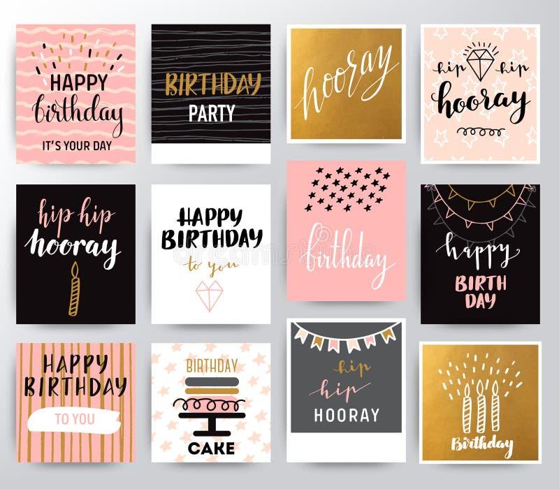 Wektorowy wszystkiego najlepszego z okazji urodzin set ilustracji