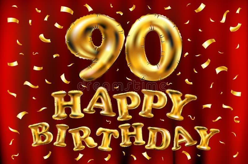 Wektorowy wszystkiego najlepszego z okazji urodzin 90th świętowania złoto szybko się zwiększać i złoty confetti połyskuje 3d Ilus ilustracji