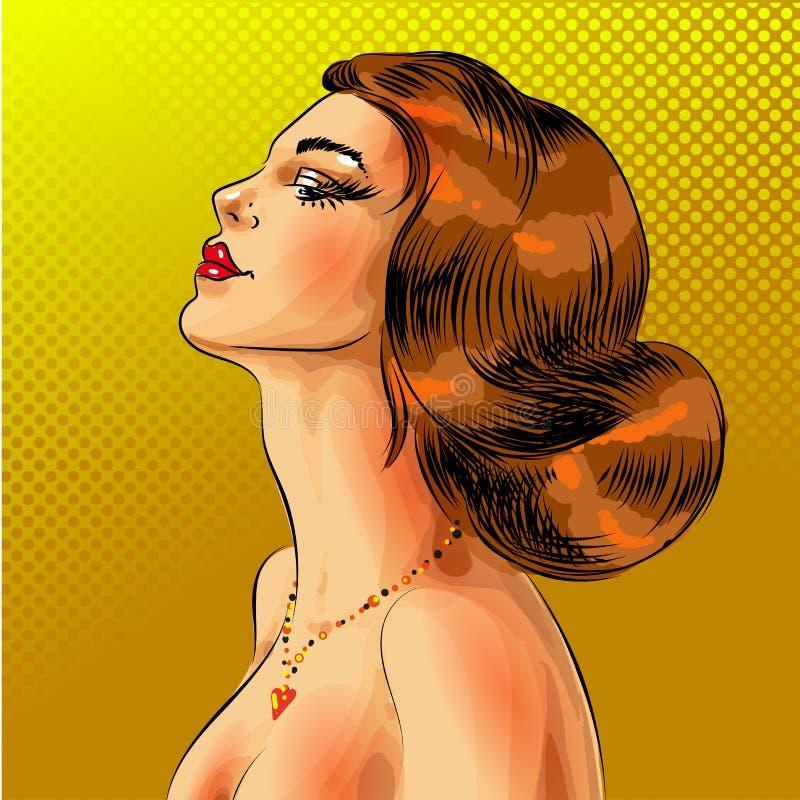 Wektorowy wystrzał sztuki kobiety piękny czerwony z włosami portret ilustracja wektor