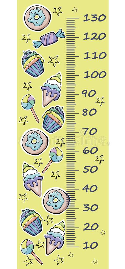 Wektorowy wzrosta wymiernik dla dzieci Kreskówek donuts, filiżanka torty, lód ilustracji
