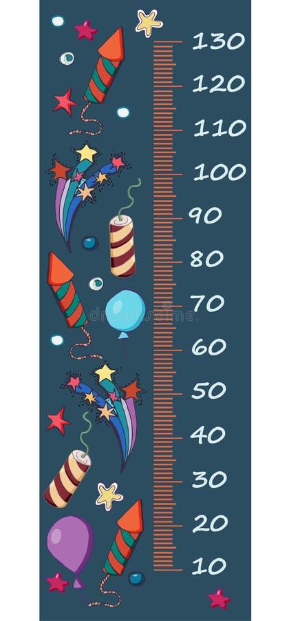 Wektorowy wzrosta wymiernik dla dzieci Kreskówka fajerwerki, baloons, co ilustracja wektor