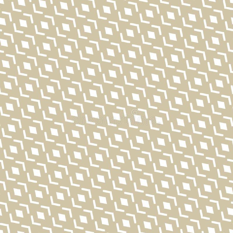 Wektorowy złoty abstrakcjonistyczny geometryczny bezszwowy wzór z diagonalną siatką, diamenty royalty ilustracja