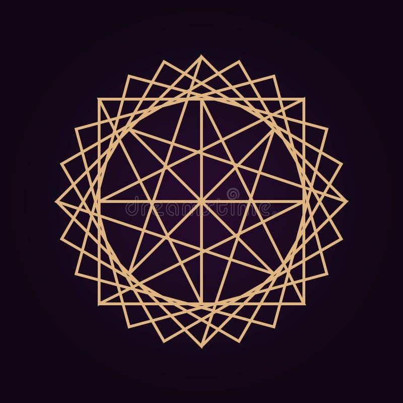 wektorowy złocisty abstrakcjonistyczny mandala geometrii święta ilustracja odizolowywał ciemnego tło ilustracja wektor