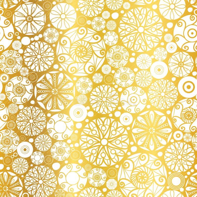 Wektorowy Złocisty Biały Abstrakcjonistyczny Doodle Okrąża Bezszwowego Deseniowego tło Wielki dla eleganckiej tekstury tkaniny, k royalty ilustracja