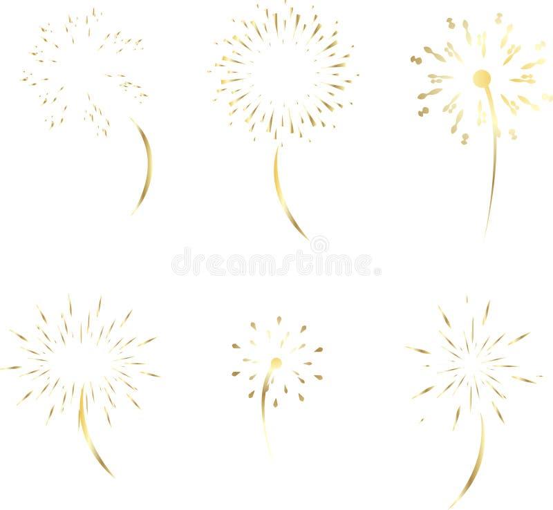 Wektorowy złocisty fajerwerk na białym tle zdjęcie royalty free