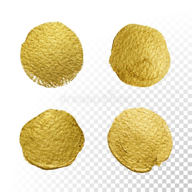 Wektorowy złocisty farba okręgu rozmazu plamy tekstury set ilustracja wektor