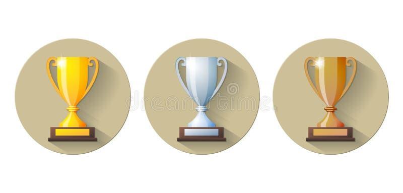 Wektorowy złota, srebra i brązu zwycięzców filiżanki mieszkanie, ilustracji
