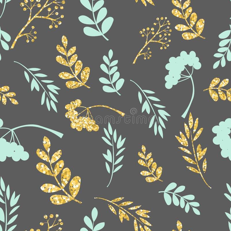 Wektorowy złoto i błękitny bezszwowy wzór Oryginalny kwiecisty ornament na ciemnym tle Modna błyskotliwości tekstura ilustracja wektor