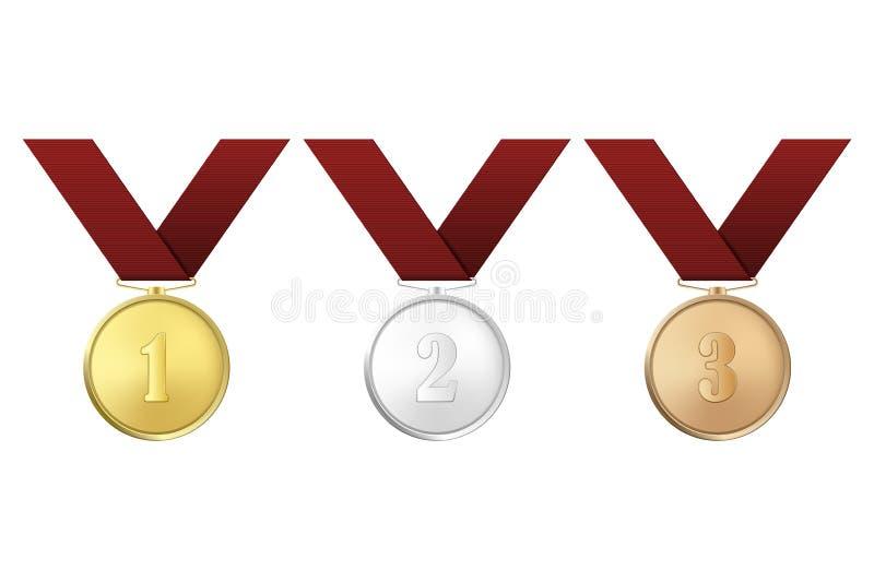 Wektorowy złoto, srebro i brąz, nagradzamy medale z czerwonymi faborkami ustawiającymi odizolowywającymi na białym tle Pierwszy,  ilustracja wektor