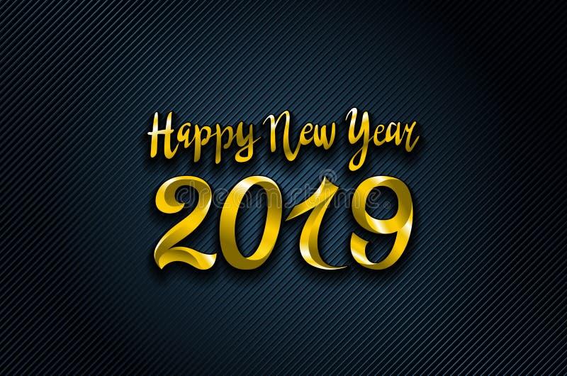 Wektorowy złoto 2019 Szczęśliwego nowego roku błękitnych tło dla twój Sezonowej powitanie karta i ulotek Bożenarodzeniowi o temac royalty ilustracja