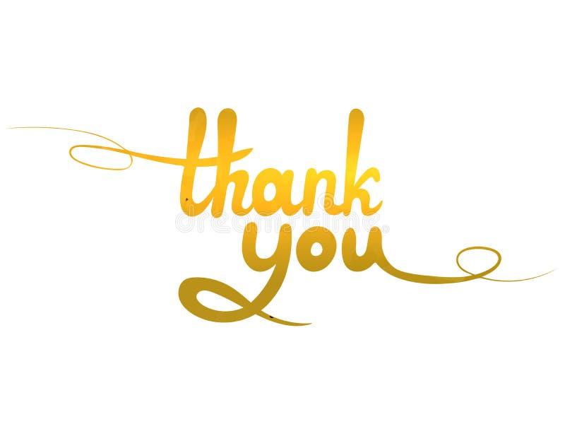 Wektorowy Złoty Dziękuje Ciebie literowanie, Ręcznie pisany Kaligraficzna inskrypcja, kartka z pozdrowieniami, Odizolowywająca na ilustracja wektor