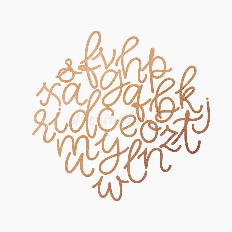 Wektorowy złoty foliowy lowercase abecadło Unikalna cyfrowa ręka rysująca złocista błyskotliwości chrzcielnica Ręcznie pisany abc royalty ilustracja