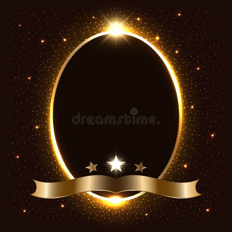 Wektorowy złoty iskrzy owal z setem jarzyć się gwiazdy i faborek, luksus przestrzeni rama na ciemnym tle, ilustracyjny mockup ilustracja wektor