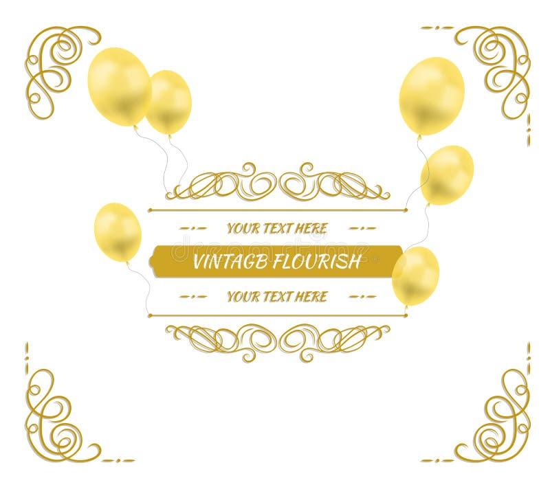 Wektorowy Złoty Kaligraficzny Ramowy szablon z balonami, Świąteczny tło, Filigree zawijasy z cieniem ilustracja wektor