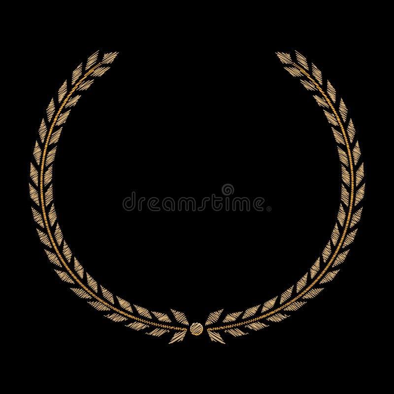 Wektorowy Złoty Laurowy wianek Przylepia etykietkę zwycięzcy, symbolu zwycięstwo, triumfu i sukcesu na czarnym tle, kolorowa hafc royalty ilustracja