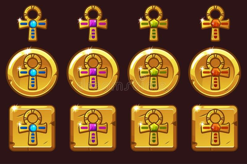 Wektorowy Złoty Przecinający Ankh z barwionymi cennymi klejnotami Egipskie złote ikony w różnych wersjach ilustracja wektor