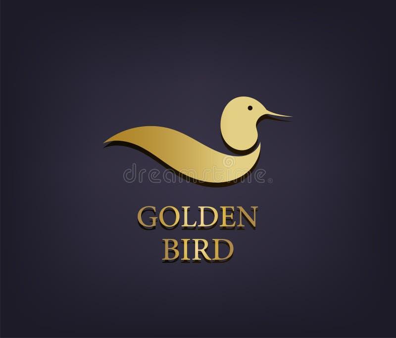 Wektorowy złoty ptasi logo, abstrakcjonistyczna luksusowa ikona royalty ilustracja