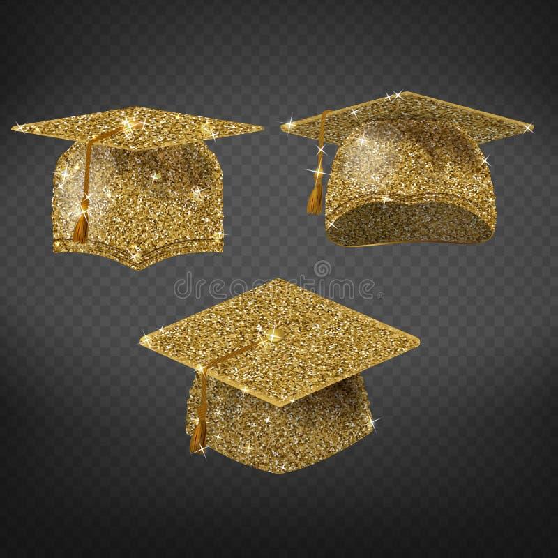 Wektorowy złoty skalowanie kapelusz, iskrzasta akademicka nakrętka royalty ilustracja