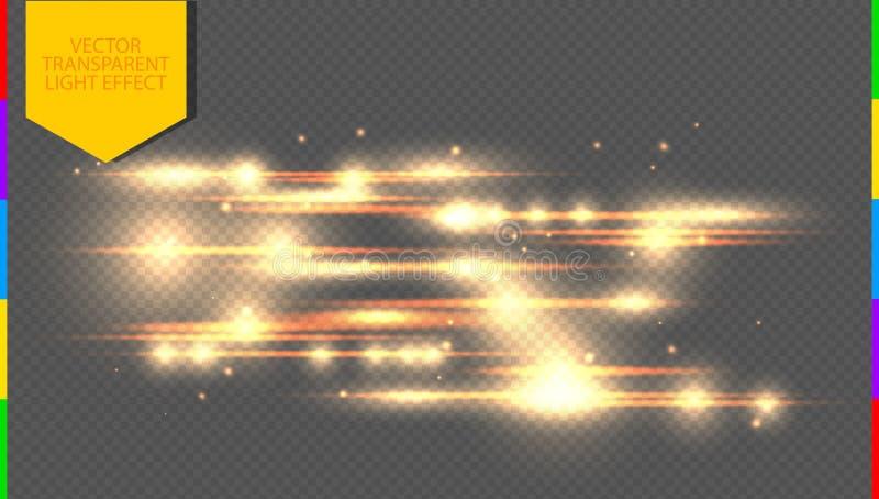 Wektorowy złoty specjalny skutek Rozjarzone smugi na przejrzystej tło przezroczystości ilustracja wektor