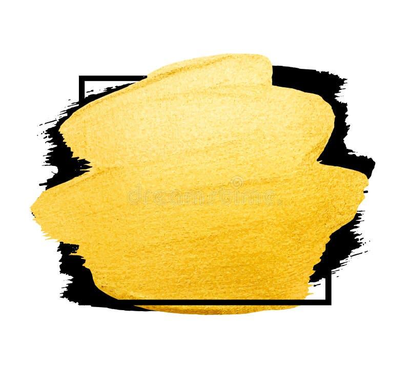 Wektorowy złoty szczotkarski uderzenie Akwareli tekstury farby plama odizolowywająca na bielu Abstrakcjonistyczna ręka malował tł ilustracji