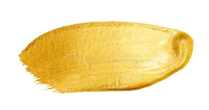 Wektorowy złoty szczotkarski uderzenie Akwareli tekstury farby plama odizolowywająca na bielu Abstrakcjonistyczna ręka malował tł obraz stock