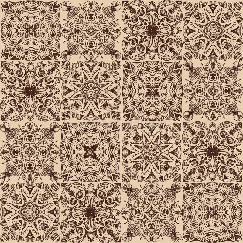 Wektorowy z?oty plemienny symmetric kafelkowy bezszwowy wz?r na ciemnym tle royalty ilustracja