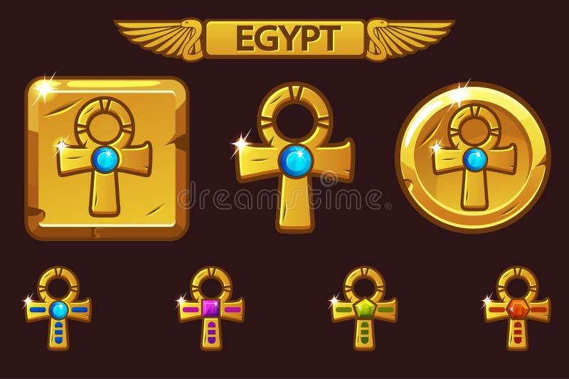 Wektorowy Z?oty Przecinaj?cy Ankh z barwionymi cennymi klejnotami egipskie ikony ilustracji