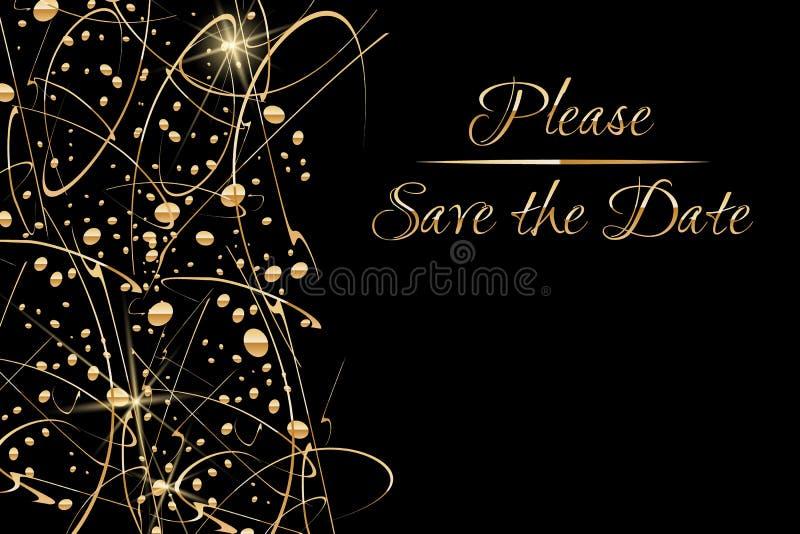 Wektorowy zaproszenie szablon z tony klasyczna złota ręka pisać literowania Save błyskotliwe złociste kropki i data i ilustracja wektor