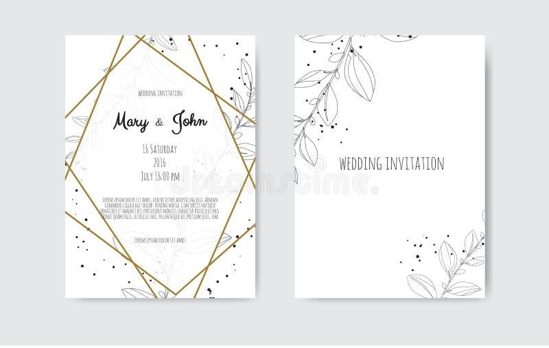 Wektorowy zaproszenie z handmade kwiecistymi elementami Ślubne zaproszenie karty z kwiecistymi elementami royalty ilustracja