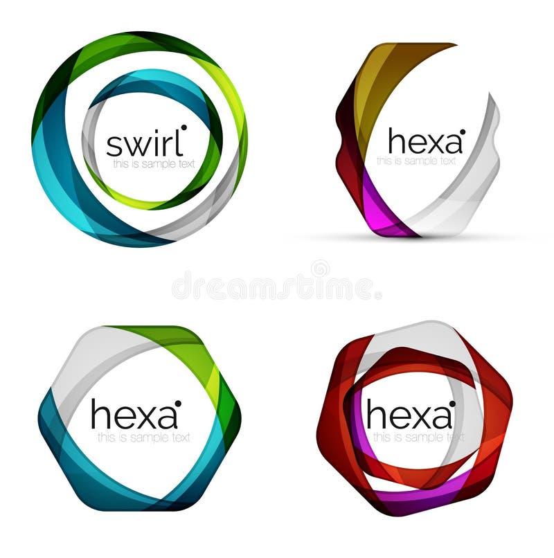 Wektorowy zawijasa sześciokąta set, geometryczne biznesowe ikony lub sieć sztandarów szablony z próbka sloganem, Tworzący z kolor ilustracji